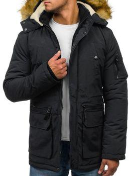 Zeleno-tmavomodrá pánska zimná bunda parka BOLF 4664 6cfd0c0657c