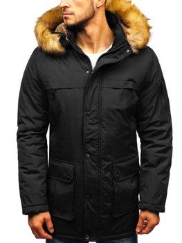 Čierna pánska zimná bunda parka BOLF R101