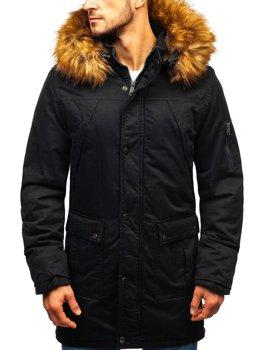 Čierna pánska zimná bunda parka BOLF R106