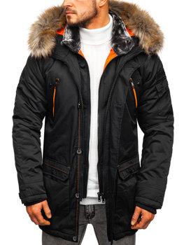 Čierna pánska zimná bunda parka Bolf  1067
