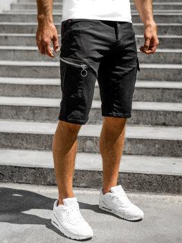 Čierne pánske kapsáčové šortky s opaskom Bolf R88204