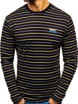 Čierne pánske prúžkované tričko s dlhými rukávmi Bolf  1519-A