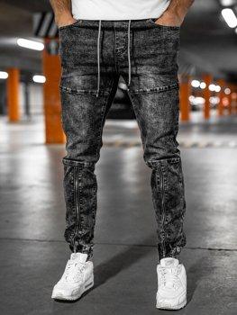 Čierne pánske rifľové joggery Bolf T346
