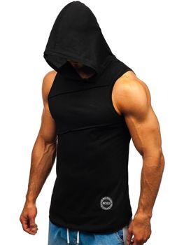 Čierne pánske tričko bez rukávov s kapucňou BOLF 2538
