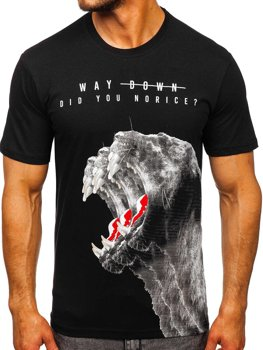 Čierne pánske tričko s potlačou Bolf 181519