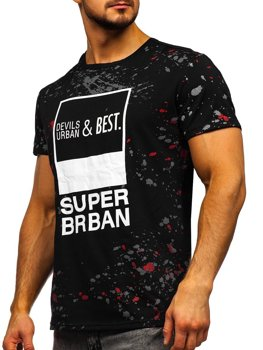 Čierne pánske tričko s potlačou Bolf JS336