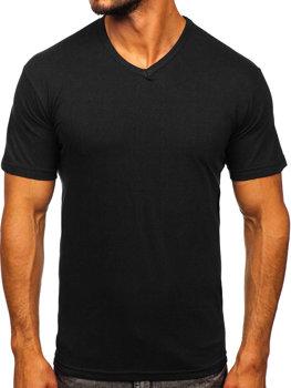 Čierne pánske tričko s výstrihom do V bez potlače Bolf 192131