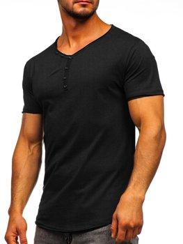 Čierne pánske tričko s výstrihom do V bez potlače Bolf 4049