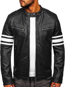 Čierno-biela pánska koženková biker bunda Bolf BF59359