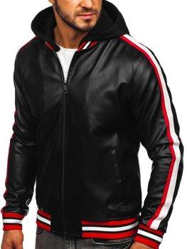 Čierno-červená pánska koženková bunda s kapucňou Bolf HY615