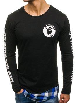 Čierno-modrá pánska mikina s kapucňou BOLF 0778