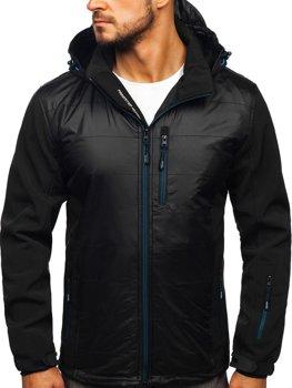 Čierno-modrá pánska softshellová bunda Bolf 5680