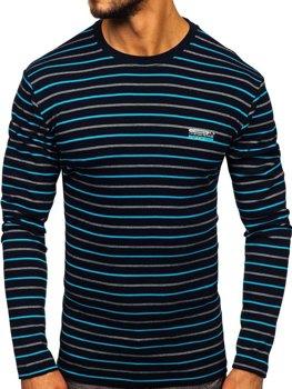Čierno-modré pánske prúžkované tričko s dlhými rukávmi Bolf 1519