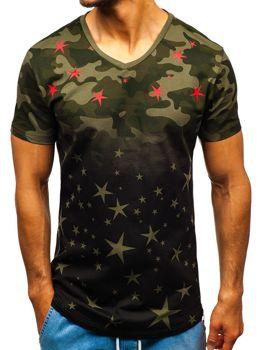 Čierno-zelené maskáčové pánske tričko s potlačou BOLF 324