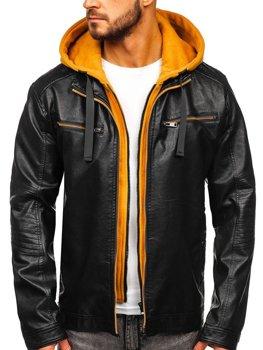Čierno-žltá pánska koženková bunda s kapucňou Bolf 6129