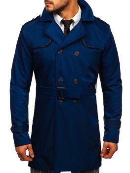 Čierny pánsky dvojradový kabát typu trenčkot s vysokým golierom a opaskom Bolf 0001