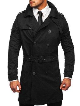 Čierny pánsky dvojradový trenčkot kabát s vysokým golierom a opaskom Bolf 5569