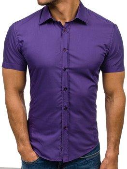 91a53c75db359 Fialová pánska elegantá košeľa s krátkymi rukávmi BOLF 7501