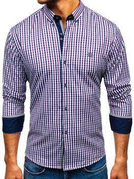 Fialová pánska károvaná vichy košeľa s dlhými rukávmi BOLF 4712
