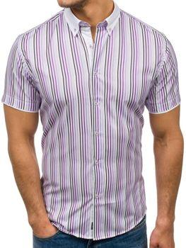 Fialová pánska prúžkovaná košeľa s krátkymi rukávmi BOLF 5201