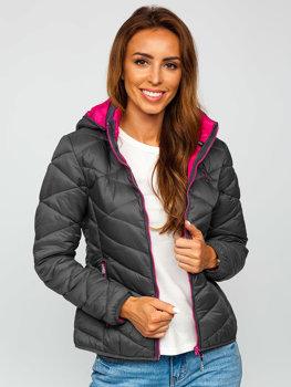 Grafitová dámska zimná bunda Bolf AB027