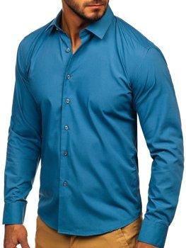 Grafitová pánska elegantná košeľa s dlhými rukávmi Bolf 0001