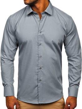 Grafitová pánska elegantná košeľa s dlhými rukávmi Bolf SM16