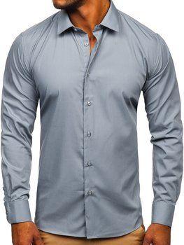 Grafitová pánska elegantná košeľa s dlhými rukávmi Bolf SM7