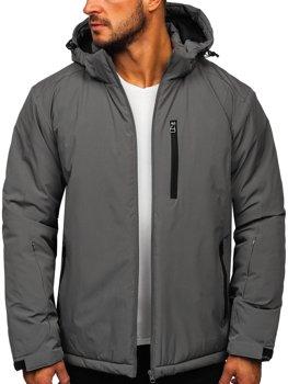 Grafitová pánska športová lyžiarská zimná bunda Bolf HH011