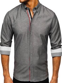 Grafitová pánska vzorovaná košeľa s dlhými rukávmi Bolf 8843