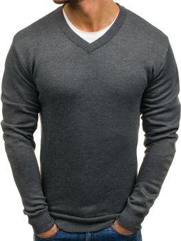 Grafitový pánsky sveter s výstrihom do V BOLF s001