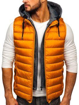 Kamelová pánska prešívaná vesta s kapucňou Bolf B2679