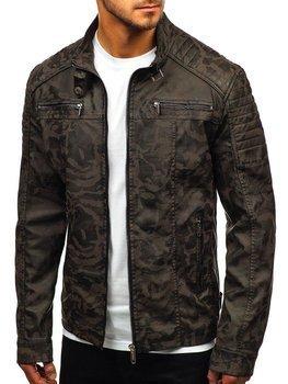 Khaki maskáčová pánska koženková bunda BOLF EX920