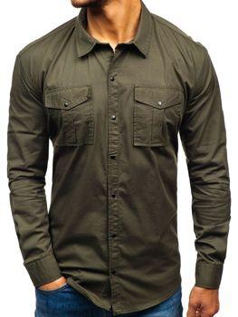 9b4938135aa4 Khaki pánska košeľa s dlhými rukávmi BOLF 2058-1