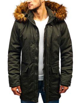 733a3a7efe9a Khaki pánska zimná bunda parka BOLF R109
