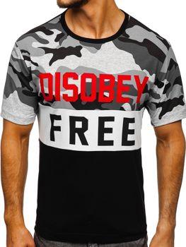 Maskáčovo-čierne pánske tričko s potlačou BOLF 6308