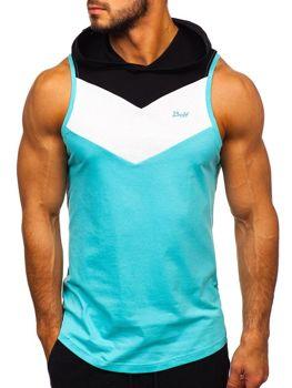 Mätové pánske tričko bez rukávov s kapucňou BOLF 1282