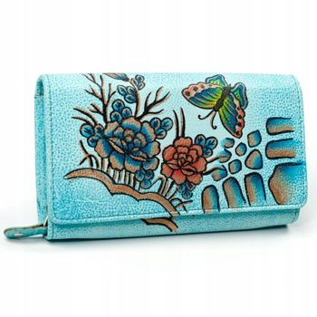 Modrá dámska kožená peňaženka 3090