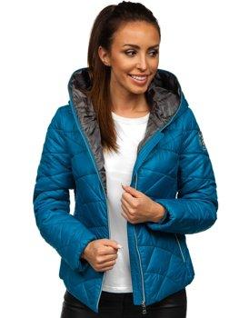Modrá dámska prešívaná zimná budna s kapucňou Bolf A5701