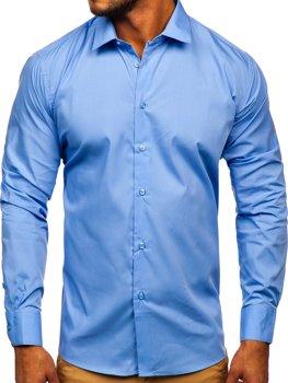Modrá pánska elegantná košeľa s dlhými rukávmi Bolf SM39