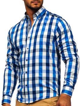 Modrá pánska károvaná košeľa s dlhými rukávmi BOLF 2779