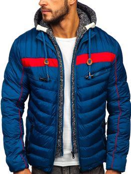 Modrá pánska prešívaná športová zimná bunda Bolf 50A71