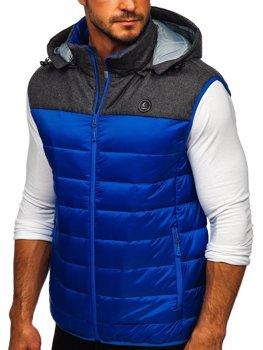 Modrá pánska prešívaná vesta s kapucňou BOLF AB045