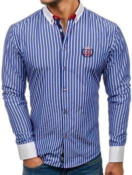 Modrá pánska prúžkovaná košeľa s dlhými rukávmi BOLF 1771