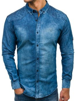 493490cbc509 Modrá pánska riflová košeľa s dlhými rukávmi BOLF 0540