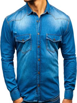 ddd7d442e3f4 Modrá pánska riflová košeľa s dlhými rukávmi BOLF 1331
