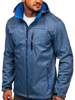 Modrá pánska softshellová prechodná bunda Bolf BK033