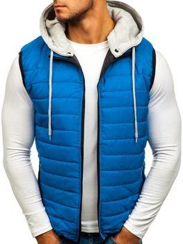 Modrá pánska vesta s kapucňou BOLF AK90