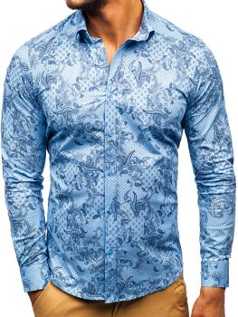 Modrá pánska vzorovaná košeľa s dlhými rukávmi BOLF 200G63