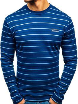 Modré pánske prúžkované tričko s dlhými rukávmi Bolf  1519-A